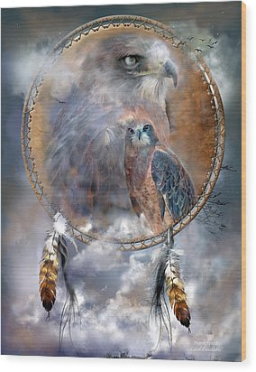 Dream Catcher - Hawk Spirit Wood Print by Carol Cavalaris