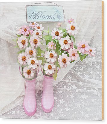 Dreamy Cottage Garden Art - Shabby Chic Pink Flowers Garden Bloom With Pink Rain Boots Wood Print by Kathy Fornal