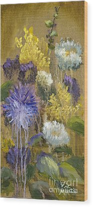 Drippy Bouquet With Gold Leaf By Vic Mastis Wood Print by Vic  Mastis