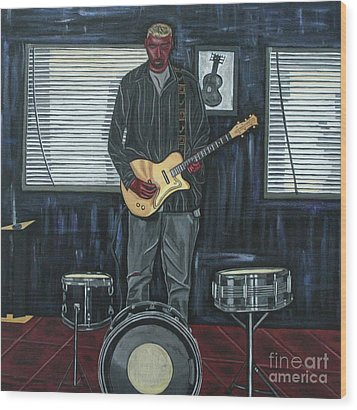 Drums And Wires Wood Print by Sandra Marie Adams