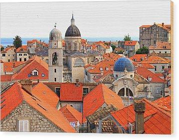 Dubrovnik Rooftops Wood Print by Saya Studios