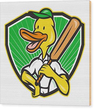 Duck Cricket Player Batsman Cartoon Wood Print by Aloysius Patrimonio