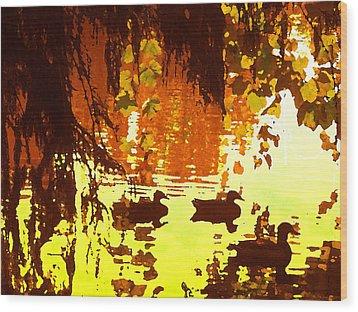 Ducks On Red Lake Wood Print by Amy Vangsgard
