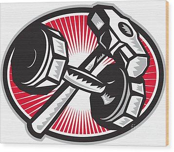 Dumbbell And Sledgehammer Retro Wood Print by Aloysius Patrimonio
