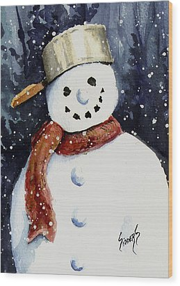 Dustie's Snowman Wood Print by Sam Sidders