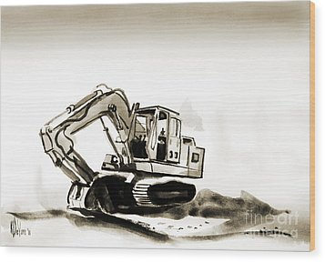 Duty Dozer In Sepia Wood Print by Kip DeVore