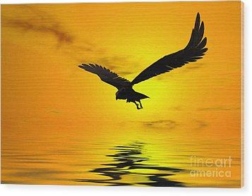 Eagle Sunset Wood Print by John Edwards