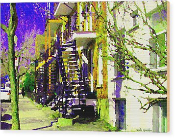 Early Spring Stroll City Streets With Spiral Staircases Art Of Montreal Street Scenes Carole Spandau Wood Print by Carole Spandau