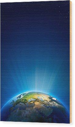 Earth Radiant Light Series - Europe Wood Print by Johan Swanepoel