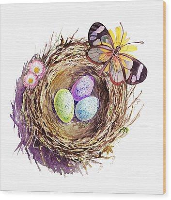 Easter Colors Bird Nest Wood Print by Irina Sztukowski