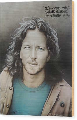 ' Eddie Vedder ' Wood Print by Christian Chapman Art