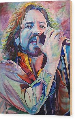 Eddie Vedder In Pink And Blue Wood Print by Joshua Morton