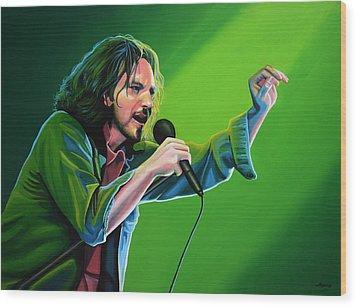 Eddie Vedder Of Pearl Jam Wood Print by Paul Meijering