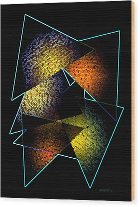 Effects Triangles Wood Print by Mario Perez