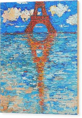 Eiffel Tower Abstract Impression Wood Print by Ana Maria Edulescu