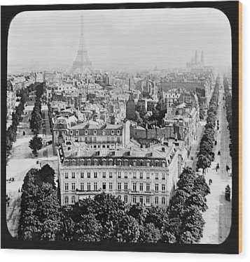 Wood Print featuring the photograph Eiffel Tower Paris Rooftops1903 by A Gurmankin