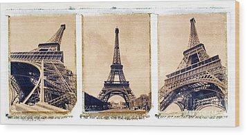 Eiffel Tower Wood Print by Tony Cordoza