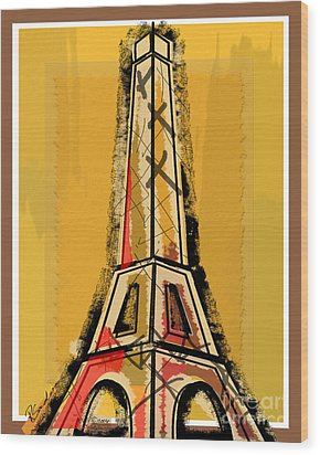 Eiffel Tower Yellow Black And Red Wood Print by Robyn Saunders