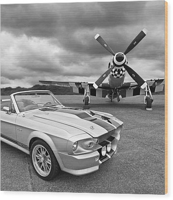 Eleanor Mustang With P51 Black And White Wood Print by Gill Billington