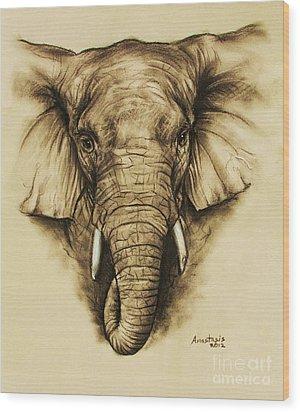 Elephant 2 Wood Print by Anastasis  Anastasi