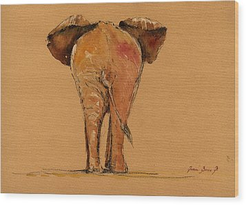 Elephant Back Wood Print by Juan  Bosco
