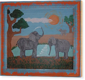 Elephant Paradise  Wood Print by Yvonne  Kroupa