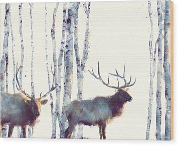 Elk // Follow Wood Print by Amy Hamilton