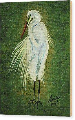 Ellie Egret Wood Print by Adele Moscaritolo