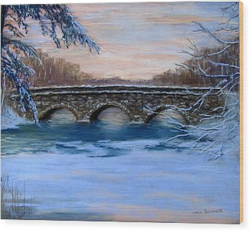 Elm Street Bridge On A Winter's Morn Wood Print by Jack Skinner