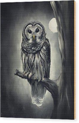Elusive Owl Wood Print by Lourry Legarde