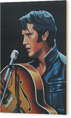 Elvis Presley 3 Painting Wood Print by Paul Meijering