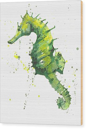 Emerald Seahorse Wood Print by Alison Fennell