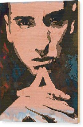 Eminem - Stylised Pop Art Poster Wood Print by Kim Wang
