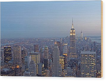 Empire State Building In Midtown Manhattan Wood Print by Juergen Roth