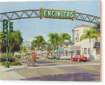 Encinitas California Wood Print by Mary Helmreich