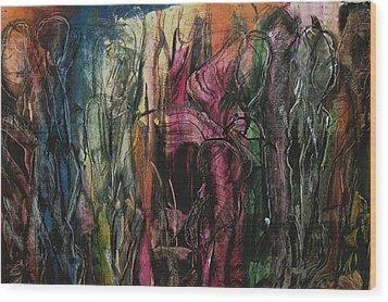 Encounter On The Roadside Wood Print by Sharon Farrah