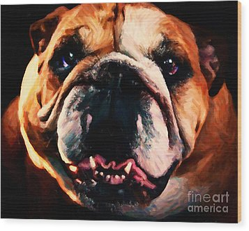English Bulldog - Painterly Wood Print by Wingsdomain Art and Photography