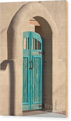 Enter Turquoise Wood Print by Barbara Chichester