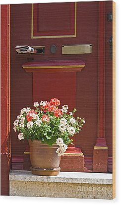 Entrance Door With Flowers Wood Print by Heiko Koehrer-Wagner