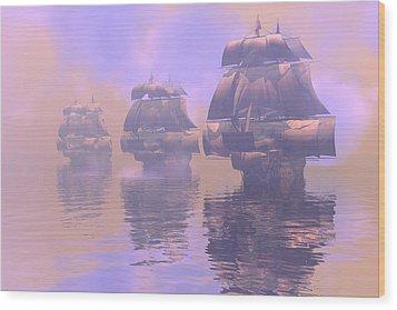 Enveloped By Fog Wood Print by Claude McCoy