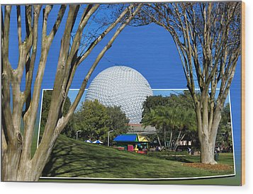 Epcot Globe 02 Wood Print by Thomas Woolworth