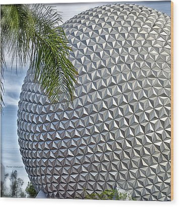 Epcot Globe Wood Print by Thomas Woolworth