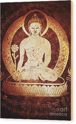 Etched Buddha  Wood Print by Tim Gainey