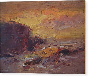 Etude Spooner's Cove At Sunset Wood Print by R W Goetting