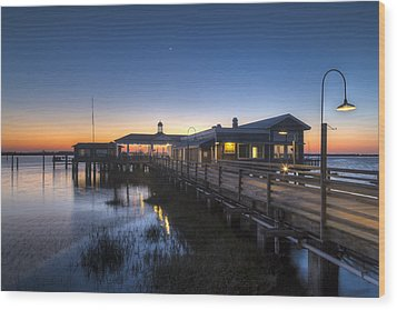 Evening Sky At The Dock Wood Print by Debra and Dave Vanderlaan