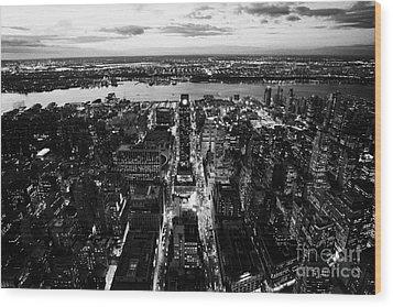 Evening View Of Manhattan West Towards Hudson River And One Penn Plaza Night New York City Wood Print by Joe Fox
