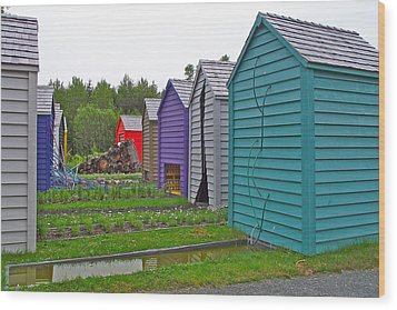 Every Garden Needs A Shed And Lawn Two In Les Jardins De Metis/reford Gardens Near Grand Metis-qc Wood Print by Ruth Hager