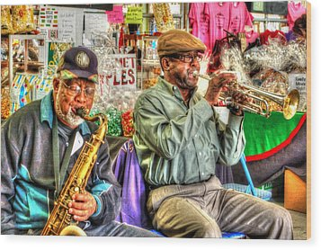 Excelsior Band Horn Players Wood Print by Michael Thomas