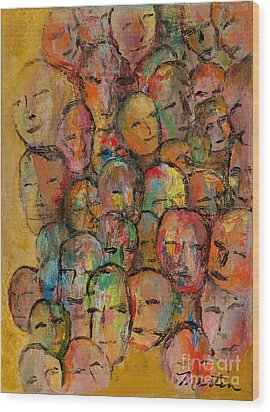 Faces In The Crowd Wood Print by Larry Martin