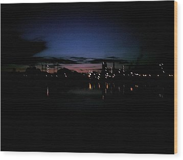 Factory Fjord Sunset Wood Print by Jonathan Laverick